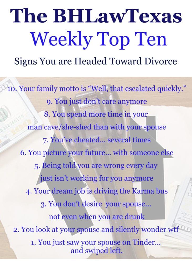 Weekly Top Ten - Headed for Divorce